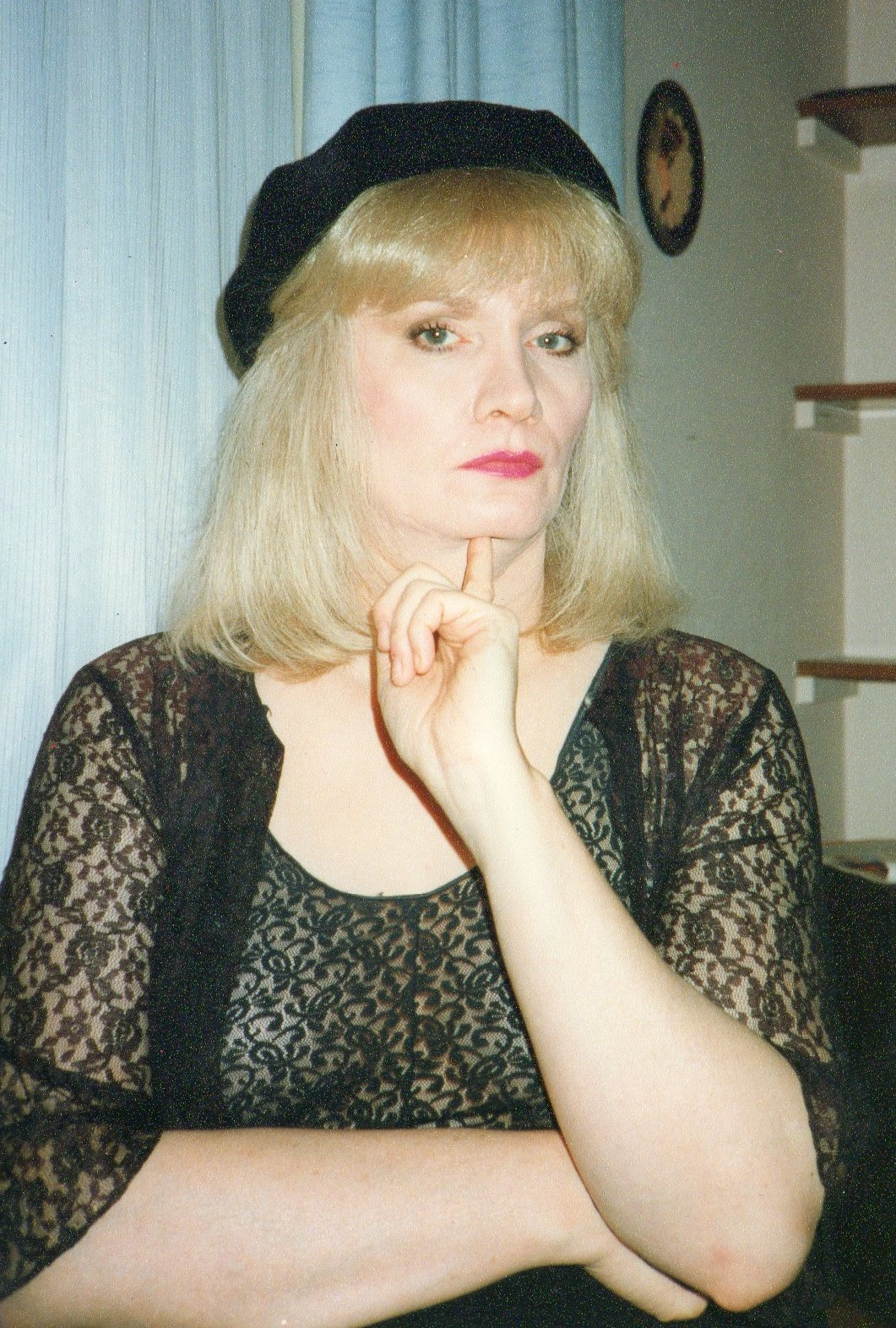 Jayne in a black beret - London in the early 90s
