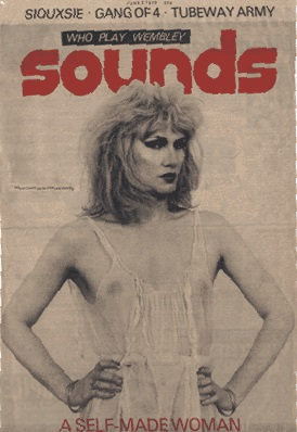 Jayne on the front cover of Sounds magazine